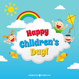 Funny children's day card in colorful style