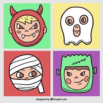 Смешные дети с жутким костюмы