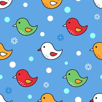 Funny childrens seamless pattern with colorful flying birds on blue background