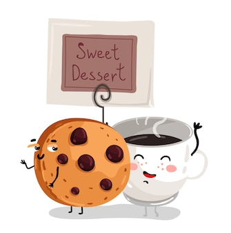 Funny chocolate chip cookie and coffee cup