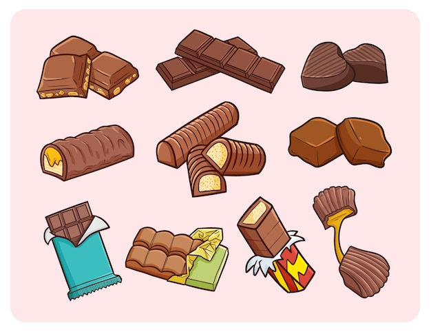 Funny chocolates in simple doodle style