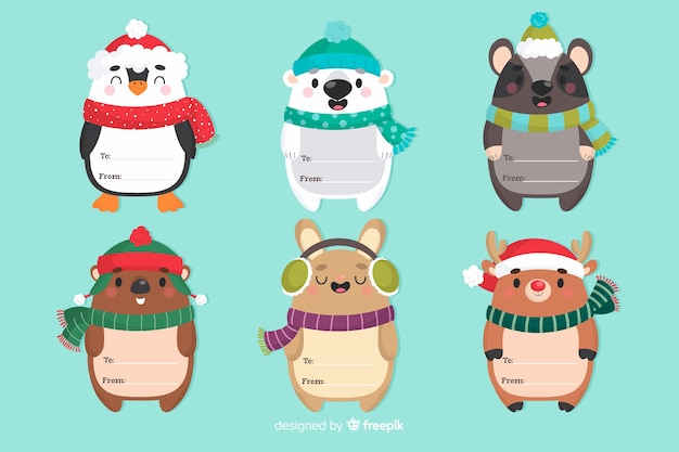Funny christmas animal characters with scarfs