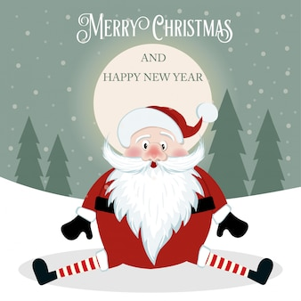 Funny christmas card with santa. flat design. vector