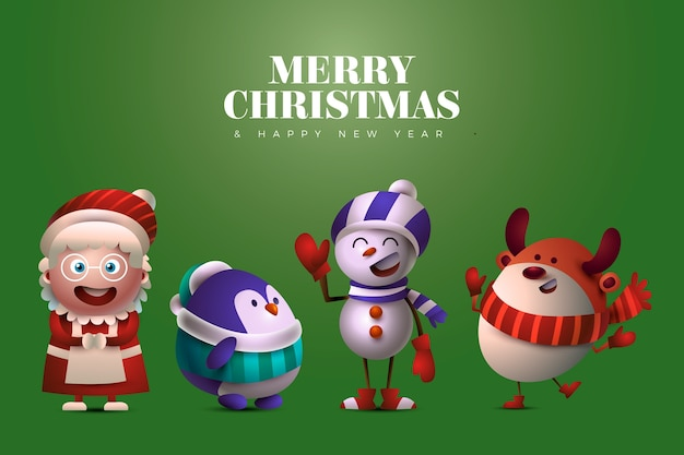Funny christmas characters on green background