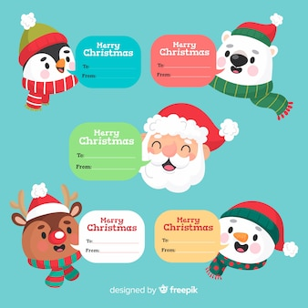 Funny christmas characters with text boxes