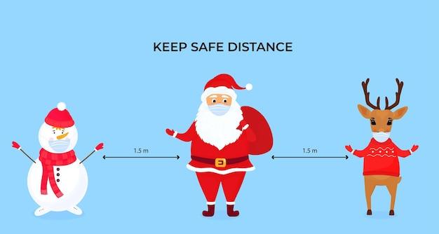 面白いクリスマスの鹿、雪だるま、サンタクロースは保護フェイスマスクを着用しています。社会的な距離を保ちます。コロナウイルスパンデミックcoivd-19中の予防措置。