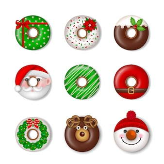 Funny christmas donuts isolated christmas sweets