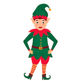 Funny christmas elf. illustration. cartoon character.