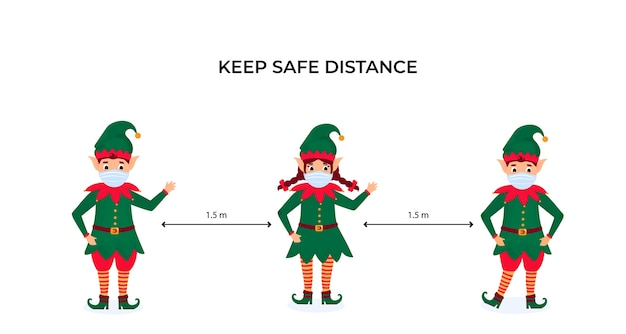Веселые рождественские эльфы в защитных масках. сохраняйте социальную дистанцию. профилактические меры во время пандемии коронавируса coivd-19.