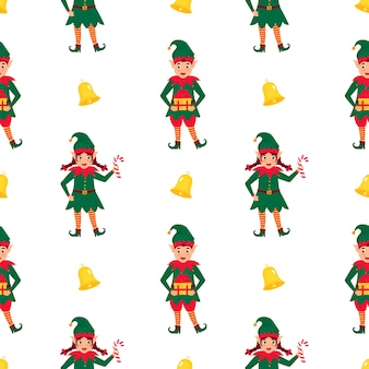 Funny christmas elves seamless pattern