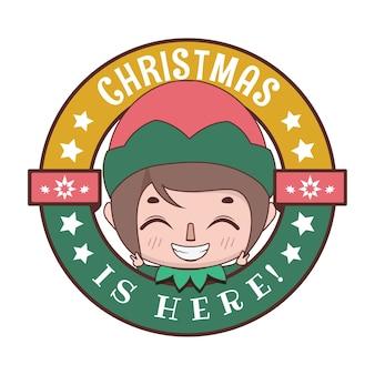 귀여운 만화 요정과 함께 재미있는 크리스마스 인사말