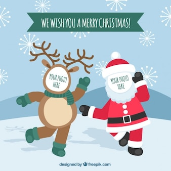 Funny christmas greetings card photography frame
