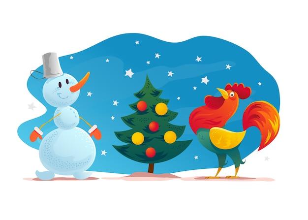 Смешная рождественская иллюстрация со счастливым снеговиком и петухом стоит на елке. . снеговик с подарками и подарками. новогодний элемент иллюстрации.