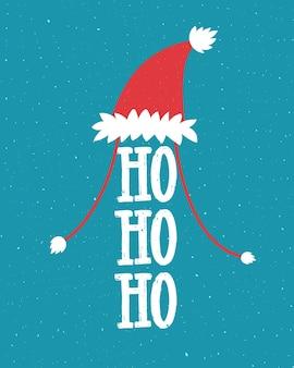 サンタの帽子と笑いの面白いクリスマスのイラスト-hohoho。青い背景に手レタリング。