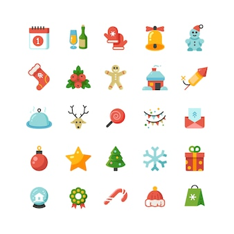 Funny christmas and new year holiday cartoon flat vector icons