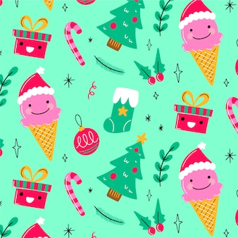 Funny christmas pattern background