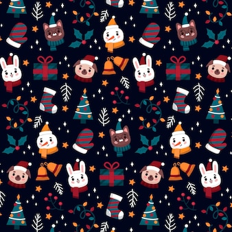 Funny christmas pattern with animals and snowman