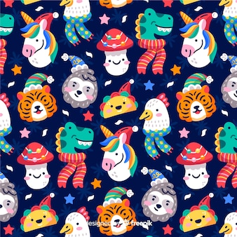 Funny christmas pattern with animals and tacos