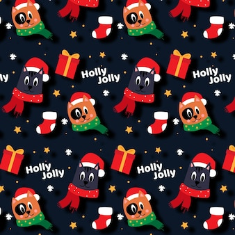 Funny christmas pattern with animals