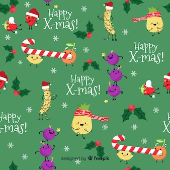 Funny christmas pattern with candy
