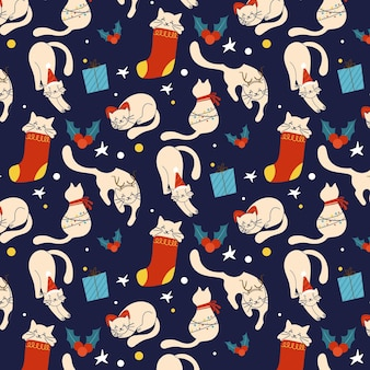 Funny christmas pattern with cats