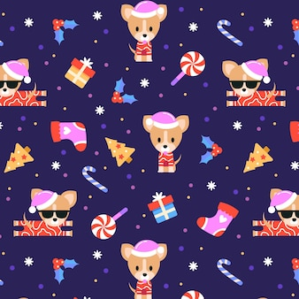 Funny christmas pattern with cool dog