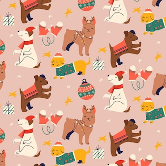 Funny christmas pattern with cute animals