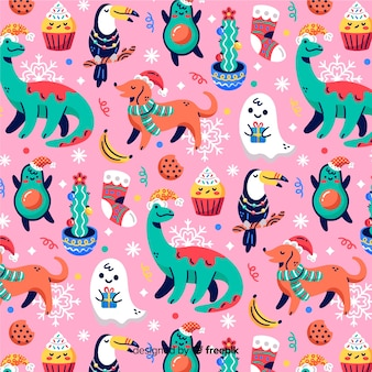 Funny christmas pattern with dogs and dinosaurs