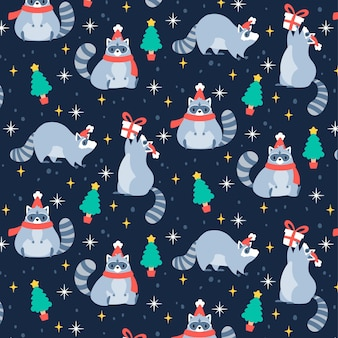 Funny christmas pattern with raccoon