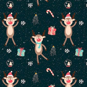 Funny christmas pattern with reindeer and gifts