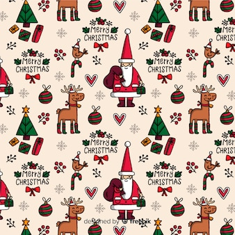 Funny christmas pattern with reindeer and santa claus