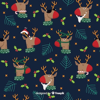 Funny christmas pattern with reindeers