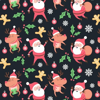 Funny christmas pattern with santa claus