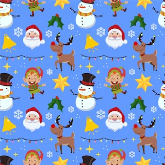 Funny christmas pattern with snowman and reindeer