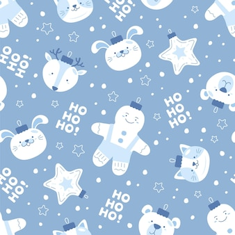 Funny christmas pattern with snowman