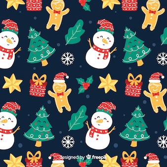 Funny christmas pattern with snowmen and gifts