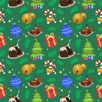 Funny christmas pattern with sweets and gifts