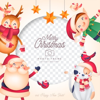 Funny christmas photo frame with santa and his friends