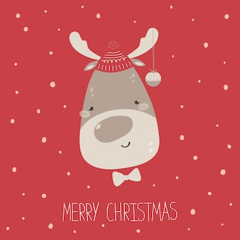 Funny christmas poster with a deer in a hat, lettering merry christmas, snow