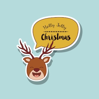 Funny Christmas reindeer character isolated icon design
