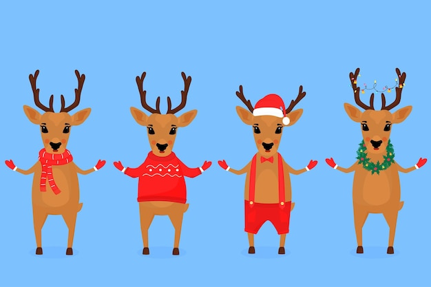 Funny christmas reindeer in a santa claus hat, in a scarf, with a garland, in shorts on suspenders, in a sweater.