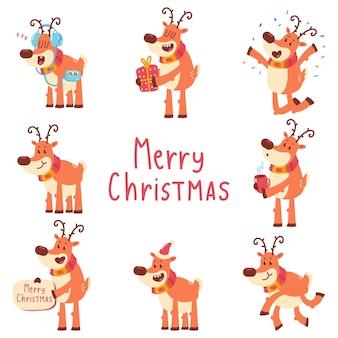 面白いクリスマストナカイベクトル漫画の文字セットは、白い背景で隔離。