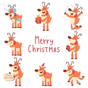 Funny christmas reindeer vector cartoon characters set isolated on a white background.
