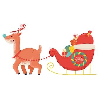 재미 있은 크리스마스 순록 썰매와 선물 만화 일러스트 흰색 배경에 고립.