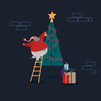 フラットスタイルで面白いクリスマスサンタクロース。サンタのクリスマスツリーを飾る。クリスマスカード、デザイン、紙のお祝いキャラクター。