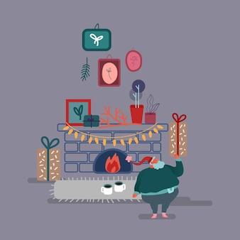 フラットスタイルで面白いクリスマスサンタクロース。サンタは暖炉のそばで子供たちへのプレゼントを残します。クリスマスカード、デザイン、紙のお祝いキャラクター。
