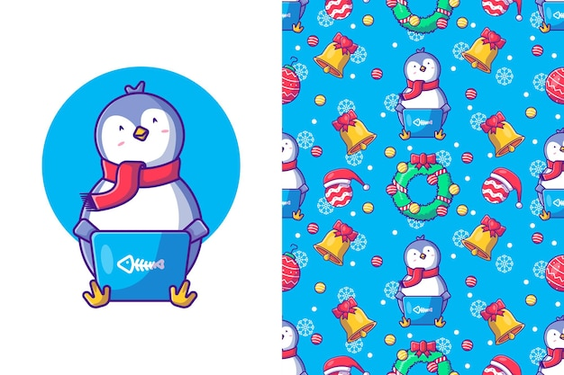 Funny christmas seamless pattern with penguins in winter