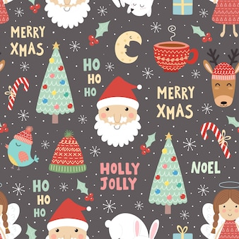 Funny christmas seamless pattern with santa claus and christmas tree.