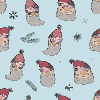 メリークリスマスと新年あけましておめでとうございますの装飾のためのサンタクロースと面白いクリスマスのシームレスなパターン