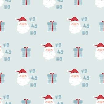 Funny christmas seamless pattern with santa claus